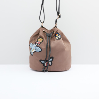 Embroidered Bucket Bag with Adjustable Strap and Drawstring Closure