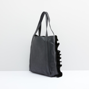 Ruffle Detail Handbag with Magnetic Snap Closure