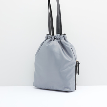Textured Bucket Bag with Drawstring Closure