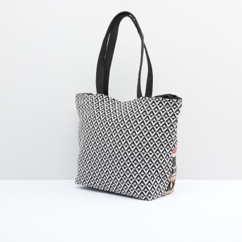 Embellished and Embroidered Tote Bag with Magnetic Snap Closure