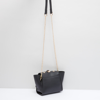 Studded Satchel Bag with Metallic Closure
