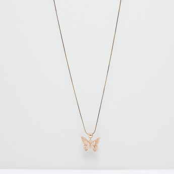 Butterfly Studded Pendant Necklace with Lobster Clasp