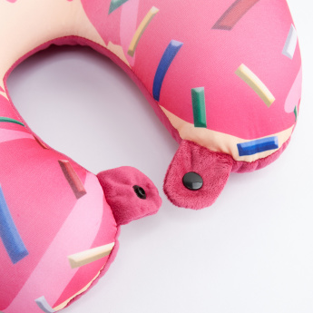 Printed Neck Pillow with Snap Button Closure
