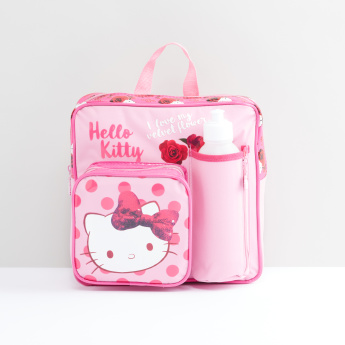 Hello Kitty Printed Bag Set with Water Bottle and Lunch Box  3a10448541171