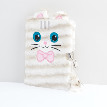 Plush Cat A5 Diary with Lock and Key