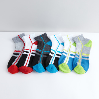 Textured Ankle Length Sports Socks - Set of 6