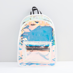 Transparent Backpack with Zip Closure and Adjustable Straps