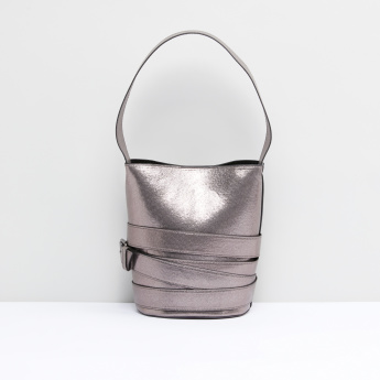 Textured Bucket Bag with Buckle Detail and Short Handle
