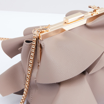 Ruffle Detail Crossbody Bag with Metallic Chain