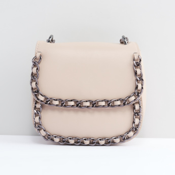 Metallic Detail Satchel Bag with Magnetic Snap Closure