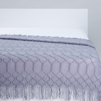 Textured Throw with Fringes