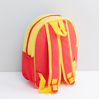 Cars Printed Backpack with Zip Closure and Adjustable Shoulder Straps