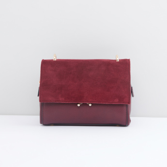 Textured Satchel Bag with Detachable Strap