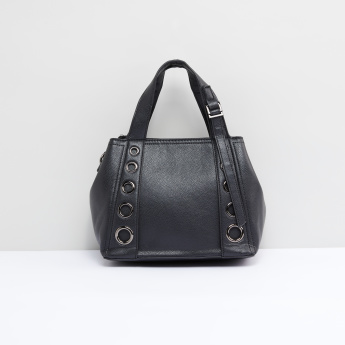 Eyelet Detail Handbag with Zip Closure and Detachable Strap