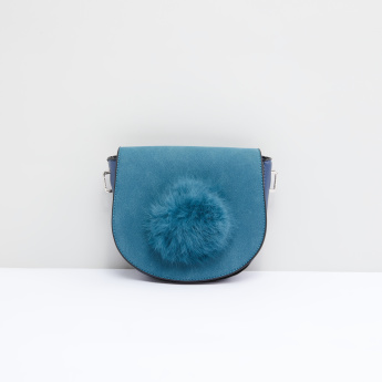Textured Satchel Bag with Adjustable Strap and Pom-Pom Detail
