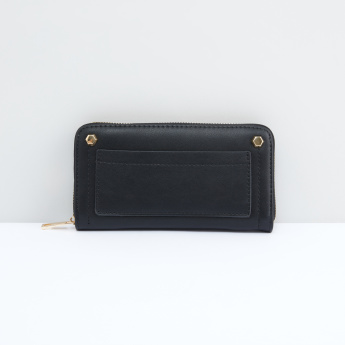 Studded Wallet with Zip Closure