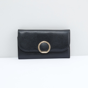 Stitch Detail Bi-Fold Wallet with Magnetic Snap Closure