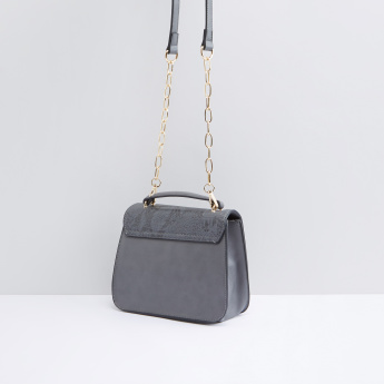 Textured Satchel Bag with Metallic Closure