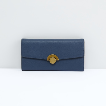 Textured Tri-Fold Wallet with Metallic Lock
