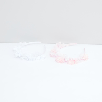 Lace and Flower Detail Hair Band - Set of 2