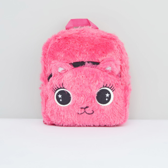 Plush Backpack with Zip Closure