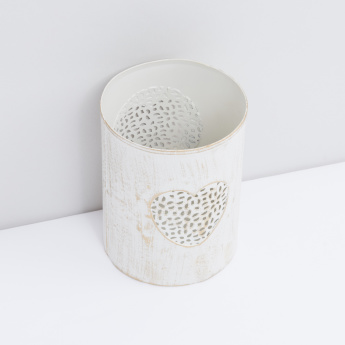 Cylindrical Candle Holder with Heart Cutwork Detail