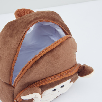 Monkey Applique Detail Plush Backpack with Zip Closure