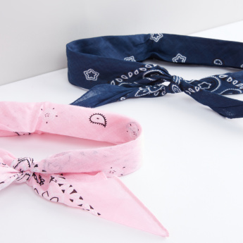 Printed Headband with Knot Detail - Set of 2