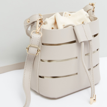 Cutout Detail Bucket Handbag with Drawstring Closure