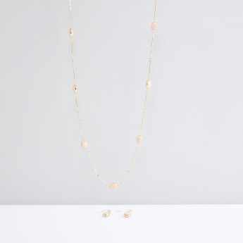 Metallic Necklace and Earrings Set