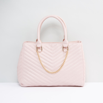 Quilted Handbag with Metallic Chain Detail and Twin Handles