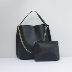 Chain Detail Hand Bag with Metallic Snap Closure