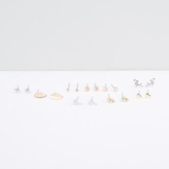 Metallic Earrings with Push Back Closure - Set of 9