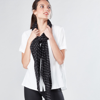 Polka Dot Printed Scarf with Pleats