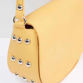 Embellished Satchel Bag with Zip Closure