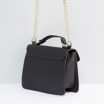 Metallic Chain Satchel Bag