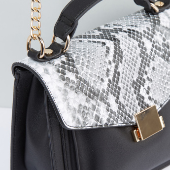 Textured Satchel Bag with Metallic Chain