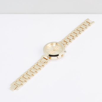 Metallic Round Wristwatch with Foldover Clasp