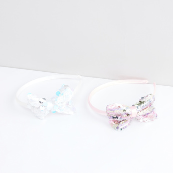 Embellished Bow Detail Hair Band - Set of 2