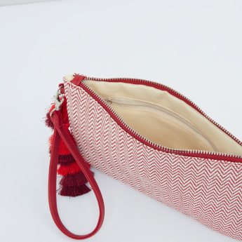 Textured Pouch with Tassel Detail and Wristlet