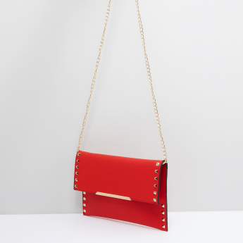 Studded Satchel Bag with Metallic Chain
