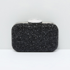 Textured Clutch with Metallic Chain
