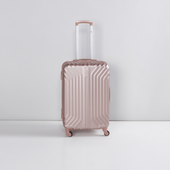 Textured Hard Case Trolley Bag with Zip Closure