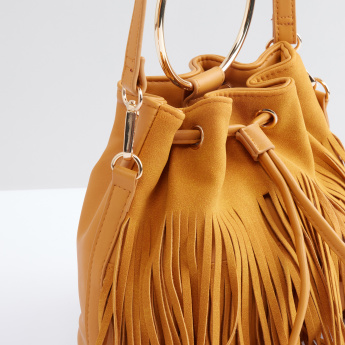 Fringe Detail Crossbody Bag with Drawstring Closure