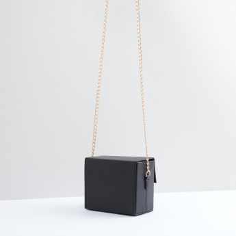 Satchel Bag with Magnetic Snap Closure and Metallic Chain