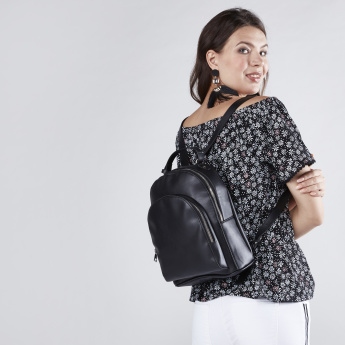 Backpack with Zip Closure and Adjustable Shoulder Straps