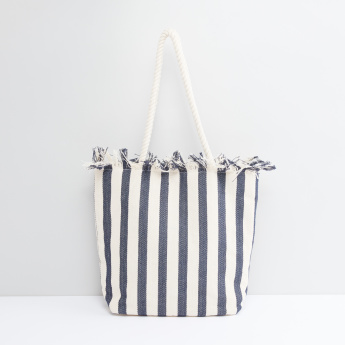 c8722cf200d0d Striped Tote Bag with Metallic Snap Closure