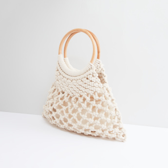 Textured Handbag with Round Handles