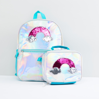 Sequin Detail Backpack with Lunch Bag