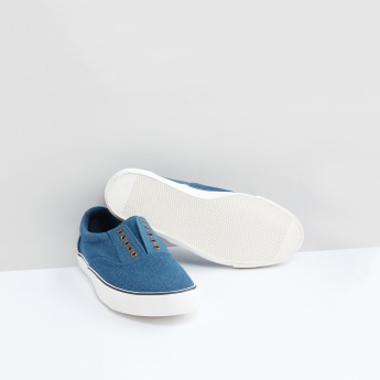 Stitch and Eyelet Detail Slip-On Shoes